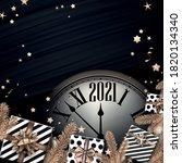 creative clock showing 2021... | Shutterstock .eps vector #1820134340