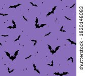 seamless pattern   black bats... | Shutterstock .eps vector #1820148083