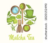 matcha vector illustration with ... | Shutterstock .eps vector #1820152490