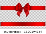 red ribbon with bow. 3d... | Shutterstock . vector #1820194169