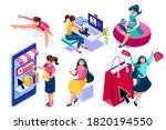 set of young women eating ... | Shutterstock .eps vector #1820194550