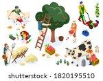 men on happy farm work smiling... | Shutterstock .eps vector #1820195510