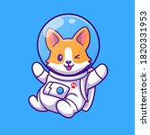 Cute Corgi Astronaut Flying...