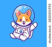 cute corgi astronaut flying...   Shutterstock .eps vector #1820331953