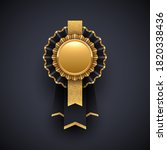 gold and black award badge with ... | Shutterstock .eps vector #1820338436