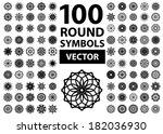 round symbols set. 100 vector... | Shutterstock .eps vector #182036930