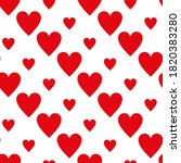 continuous design of red hearts ... | Shutterstock .eps vector #1820383280
