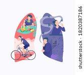 flat illustration of man eat...   Shutterstock .eps vector #1820387186