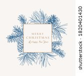 holiday card with square frame. ... | Shutterstock .eps vector #1820401430
