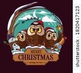 christmas owls on wooden... | Shutterstock .eps vector #1820417123