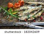 Stock photo grilled sardine 182042609