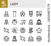Lady Icon Set. Collection Of...
