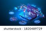 data analysis concept. teamwork ... | Shutterstock .eps vector #1820489729