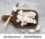 Cutting Champignon Mushrooms In ...