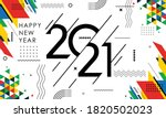 happy new year 2021 banner with ... | Shutterstock .eps vector #1820502023