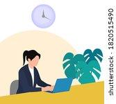 women working with laptops in... | Shutterstock .eps vector #1820515490