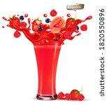 red berry juice splash. whole... | Shutterstock .eps vector #1820550896