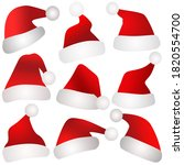 christmas santa claus hats on... | Shutterstock . vector #1820554700