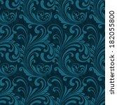 dark blue ornamental seamless... | Shutterstock . vector #182055800