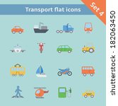 transportation flat icons set... | Shutterstock . vector #182063450