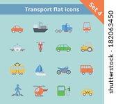 transportation flat icons set... | Shutterstock . vector #182063450