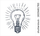 retro light bulbs vintage hand... | Shutterstock .eps vector #1820681783
