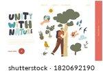 male character hugging tree... | Shutterstock .eps vector #1820692190