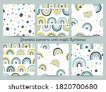 set of seamless patterns with... | Shutterstock .eps vector #1820700680