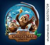 owls on signboard in santa... | Shutterstock .eps vector #1820701739