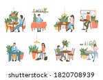 set of modern and cozy cafe or... | Shutterstock .eps vector #1820708939