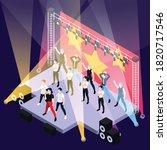 k pop music boys group singing... | Shutterstock .eps vector #1820717546