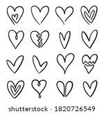 vector hand drawn heart doodle... | Shutterstock .eps vector #1820726549