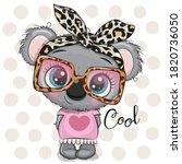 cute cartoon koala girl with a... | Shutterstock .eps vector #1820736050