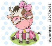 cute cartoon cow with dress and ...   Shutterstock .eps vector #1820736053