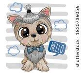 cute cartoon dog yorkshire...   Shutterstock .eps vector #1820736056