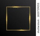 vector gold glitter light frame | Shutterstock .eps vector #1820739053