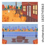 fall weekend in city flat color ...   Shutterstock .eps vector #1820745863