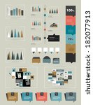flat infographic collection of... | Shutterstock .eps vector #182077913