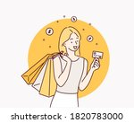 shopping with credit card. hand ... | Shutterstock .eps vector #1820783000
