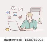 creative worker using digital... | Shutterstock .eps vector #1820783006