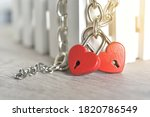 Red Heart Key Pad Chained...