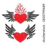 Vintage Graphic Red Heart With...