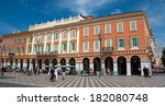 Small photo of NICE, FRANCE - MAY 4: Place Massena on May 4, 2013 in Nice, France. Square is located in the city center and is the most popular destination.
