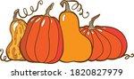 pumpkin orange and yellow set...   Shutterstock .eps vector #1820827979