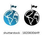 flag on the map  set glyph icon   Shutterstock .eps vector #1820830649