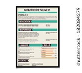 resume template. cv creative... | Shutterstock .eps vector #182084279