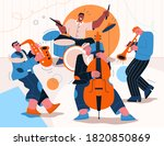 jazz band playing music at... | Shutterstock .eps vector #1820850869