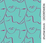 abstract one line drawing faces ... | Shutterstock .eps vector #1820856836