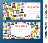 flat education banners set.... | Shutterstock .eps vector #182087000