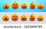 set of halloween pumpkin on... | Shutterstock .eps vector #1820888789